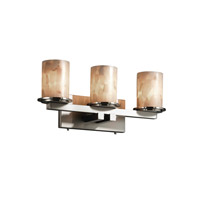 Justice Design Alabaster Rocks Dakota 3-Light Straight-Bar Bath Bar in Brushed Nickel ALR-8773-10-NCKL
