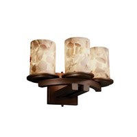 Justice Design Alabaster Rocks Dakota 3-Light Curved-Bar Wall Sconce in Dark Bronze ALR-8776-10-DBRZ