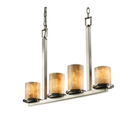 Justice Design Alabaster Rocks Dakota 4-Light Bar Chandelier in Brushed Nickel ALR-8778-10-NCKL