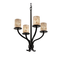 Justice Design Alabaster Rocks Sonoma 4-Light Chandelier in Matte Black ALR-8780-10-MBLK