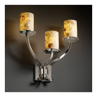 Justice Design Alabaster Rocks Sonoma 3-Light Wall Sconce in Brushed Nickel ALR-8783-10-NCKL