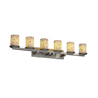 Justice Design Alabaster Rocks Dakota 6-Light Bath Bar in Brushed Nickel ALR-8786-10-NCKL
