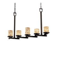 Justice Design Alabaster Rocks Dakota 5-Light Zig-Zag Chandelier in Dark Bronze ALR-8787-10-DBRZ