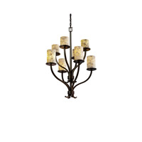 Justice Design Alabaster Rocks Sonoma 8-Light 2-Tier Chandelier in Dark Bronze ALR-8788-10-DBRZ