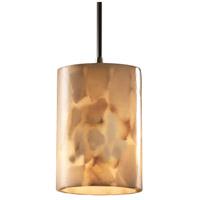 Justice Design ALR-8815-10-ABRS-LED1-700 Alabaster Rocks LED 4 inch Antique Brass Pendant Ceiling Light in 700 Lm LED, Cord, Cylinder with Flat Rim