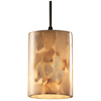 Justice Design Alabaster Rocks Pendants Mini 1-Light Pendant in Matte Black ALR-8815-10-MBLK