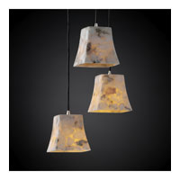 Alabaster Rocks 3 Light Brushed Nickel Pendant Ceiling Light in Square Flared