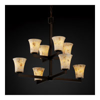 Justice Design Alabaster Rocks Modular 8-Light 2-Tier Chandelier in Dark Bronze ALR-8828-20-DBRZ