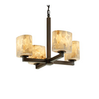 Alabaster Rocks 4 Light Dark Bronze Chandelier Ceiling Light in Fluorescent, Oval