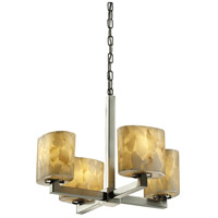 Alabaster Rocks 4 Light Brushed Nickel Chandelier Ceiling Light in Fluorescent, Oval