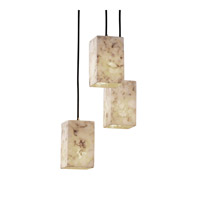 Alabaster Rocks 3 Light 4 inch Brushed Nickel Pendant Ceiling Light in Square with Flat Rim