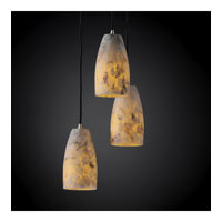 Justice Design Alabaster Rocks Pendants Small 3-Light Cluster Pendant in Brushed Nickel ALR-8864-28-NCKL