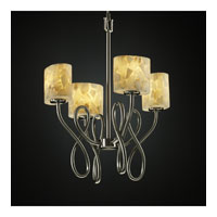 Justice Design Alabaster Rocks Capellini 4-Light Chandelier in Brushed Nickel ALR-8910-30-NCKL