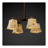 Alabaster Rocks 4 Light Dark Bronze Chandelier Ceiling Light in Fluorescent, Square Flared