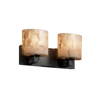 Alabaster Rocks 2 Light 16 inch Matte Black Bath Bar Wall Light in Fluorescent, Oval