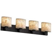 Alabaster Rocks 4 Light 35 inch Matte Black Bath Bar Wall Light in Fluorescent, Oval