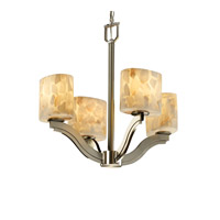 Justice Design Alabaster Rocks Bend 4-Light Chandelier in Brushed Nickel ALR-8970-30-NCKL