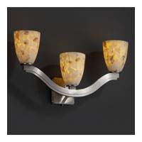 Justice Design Alabaster Rocks Bend 3-Light Wall Sconce (Style 2) in Brushed Nickel ALR-8976-18-NCKL