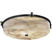 Justice Design ALR-8987-MBLK Alabaster Rocks 1 Light 21 inch Matte Black Flush-Mount Ceiling Light Round