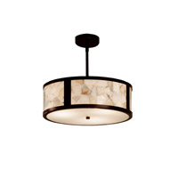 Alabaster Rocks Dark Bronze Drum Pendant Ceiling Light in Fluorescent