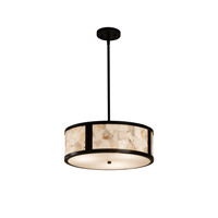 Alabaster Rocks Matte Black Drum Pendant Ceiling Light in Fluorescent