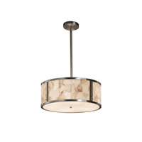 Alabaster Rocks Brushed Nickel Drum Pendant Ceiling Light in Fluorescent