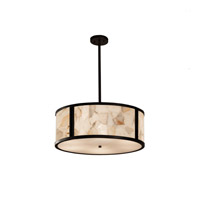 Alabaster Rocks LED Matte Black Drum Pendant Ceiling Light in 3500 Lm 5 Light LED