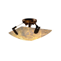 Alabaster Rocks 2 Light 16 inch Dark Bronze Semi-Flush Bowl Ceiling Light in Square Bowl