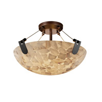 Alabaster Rocks 3 Light 21 inch Dark Bronze Semi-Flush Bowl Ceiling Light in Round Bowl
