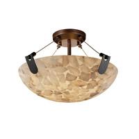 Justice Design ALR-9611-25-NCKL-LED3-3000 Alabaster Rocks LED 21 inch Brushed Nickel Semi-Flush Ceiling Light in 3000 Lm LED, Square Bowl