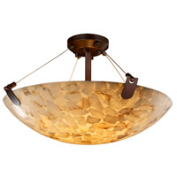 Justice Design ALR-9612-35-NCKL-LED5-5000 Alabaster Rocks LED 27 inch Brushed Nickel Semi-Flush Ceiling Light in 5000 Lm LED, Round Bowl
