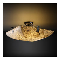 Alabaster Rocks 3 Light 21 inch Matte Black Semi-Flush Bowl Ceiling Light in Square Bowl