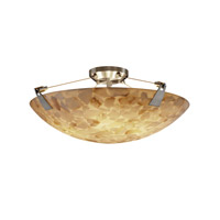 Alabaster Rocks 6 Light 21 inch Brushed Nickel Semi-Flush Bowl Ceiling Light in Round Bowl