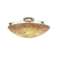 Justice Design ALR-9632-35-DBRZ-LED5-5000 Alabaster Rocks LED 27 inch Dark Bronze Semi-Flush Ceiling Light in 5000 Lm LED, Round Bowl