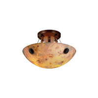 Alabaster Rocks 2 Light 21 inch Dark Bronze Semi-Flush Bowl Ceiling Light in Round Bowl, Concentric Circles