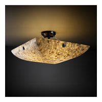 Alabaster Rocks 3 Light 21 inch Matte Black Semi-Flush Bowl Ceiling Light in Square Bowl, Concentric Circles