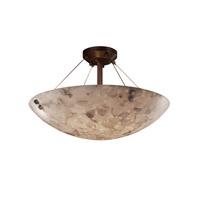 Justice Design ALR-9651-25-DBRZ-F6-LED3-3000 Alabaster Rocks LED 21 inch Dark Bronze Semi-Flush Ceiling Light in 3000 Lm LED, Concentric Circles, Square Bowl