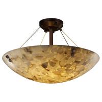 Justice Design ALR-9652-35-DBRZ-F1-LED5-5000 Alabaster Rocks LED 27 inch Dark Bronze Semi-Flush Ceiling Light in 5000 Lm LED, Pair of Cylinders, Round Bowl