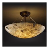 Justice Design ALR-9654-35-DBRZ-F1-LED6-6000 Alabaster Rocks LED 39 inch Dark Bronze Semi-Flush Ceiling Light in Pair of Cylinders, Round Bowl, 6000 Lm LED