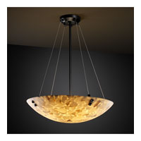 Justice Design ALR-9661-35-DBRZ-F3-LED3-3000 Alabaster Rocks LED 18 inch Dark Bronze Pendant Ceiling Light in 3000 Lm LED, Pair of Square with Points, Round Bowl