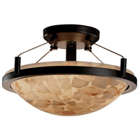 Justice Design ALR-9680-35-DBRZ Alabaster Rocks 2 Light Dark Bronze Semi-Flush Bowl Ceiling Light photo thumbnail