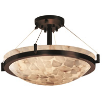 Alabaster Rocks 3 Light 21 inch Dark Bronze Semi-Flush Bowl Ceiling Light