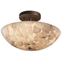 Alabaster Rocks 2 Light 14 inch Dark Bronze Semi-Flush Bowl Ceiling Light