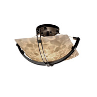 Alabaster Rocks 2 Light 17 inch Matte Black Semi-Flush Bowl Ceiling Light in Square Bowl