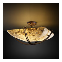 Alabaster Rocks 6 Light 28 inch Dark Bronze Semi-Flush Bowl Ceiling Light in Square Bowl