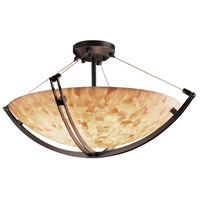 Alabaster Rocks 6 Light Dark Bronze Semi-Flush Bowl Ceiling Light in Round Bowl