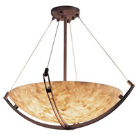 Alabaster Rocks 6 Light Dark Bronze Pendant Bowl Ceiling Light in Round Bowl