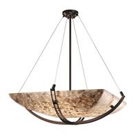 Justice Design ALR-9727-25-DBRZ Alabaster Rocks 6 Light 55 inch Dark Bronze Pendant Ceiling Light in Square Bowl, Incandescent, Bowl