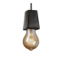 Euro Classics Geo 1 Light 2 inch Dark Bronze with Celadon Green Crackle Pendant Ceiling Light in Black Cord