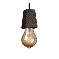 Euro Classics 1 Light Dark Bronze Pendant Ceiling Light in Black Cord, Hammered Iron